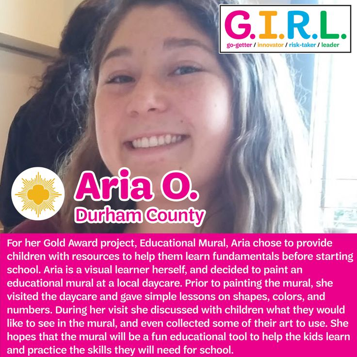 For her Girl Scout Gold Award Project, Aria painted an