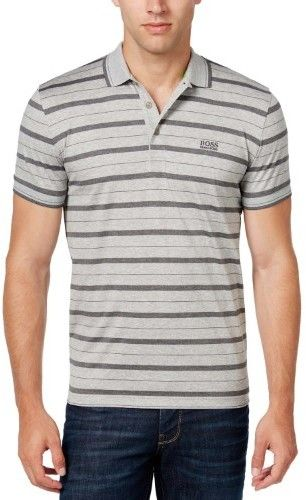 HUGO BOSS Green Label Paddy Modern Fit Striped Polo Shirt Grey X-Large