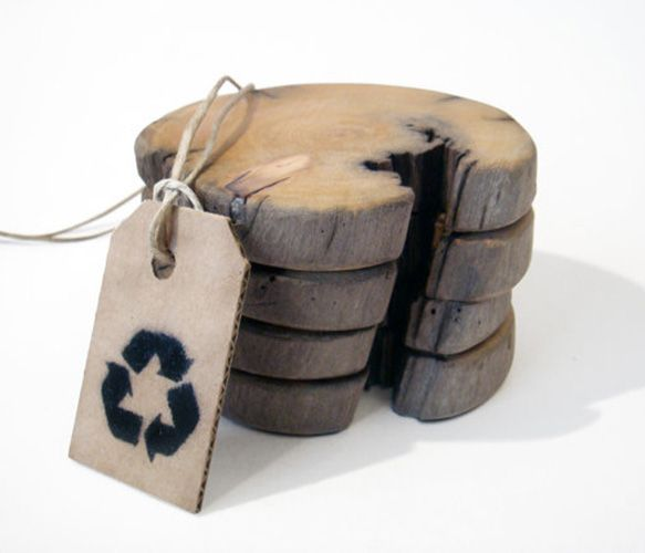 """Driftwood coaster by Railis Design @ Uncovet  //  """" Made from driftwood who has been floating a hundred years by the Atlantic Ocean."""" bad grammar but, that's neat."""