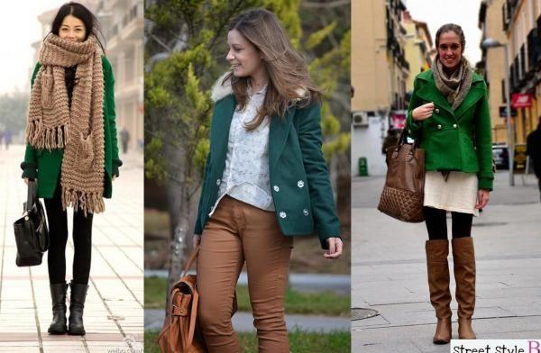 Cappotto verde con marrone