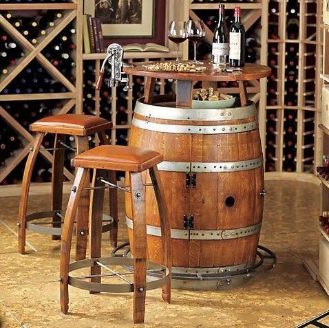Yee Haw love this simple western style bar for the home!: Wine Cellar, Idea, Man Cave, Bistro Tables, Wine Barrels, Oak Wine, Bar Stools, Barrel Bistro, Vintage Oak