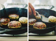 quinoa cauliflower patties // sprouted kitchen  (recipe not vegan as written)