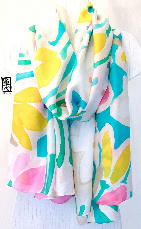 Handpainted Large Silk Shawl, Spring Abstract Floral Silk Shawl, Large Silk Evening Wrap. 35x84 inches. 100% Silk. via Etsy