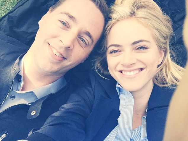 All smiles for Sean Murray and Emily Wickersham. McGee and Bishop of NCIS
