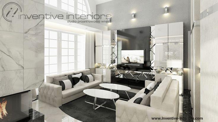 Projekt salonu Inventive Interiors - luksusowy, elegancki salon - jasny beżowy salon z akcentami czerni