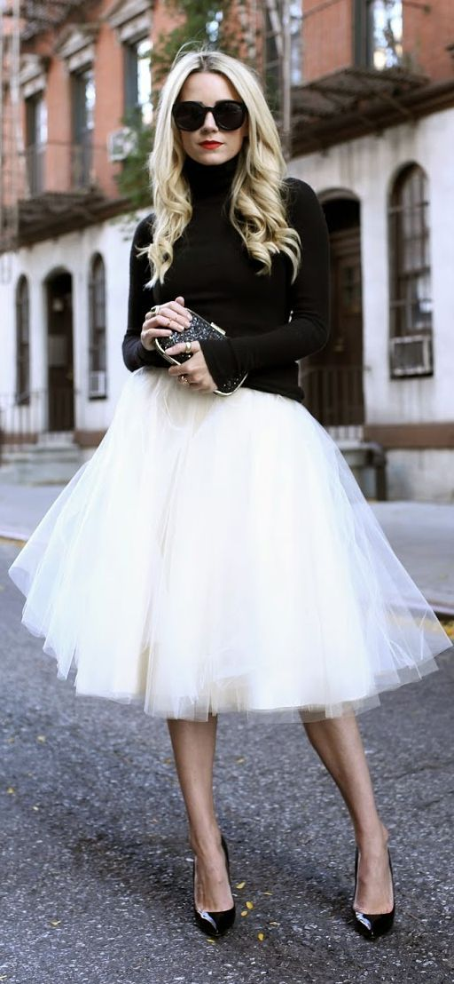 White Tutu Skirt by Atlantic - Pacific: Black Sweater& White Tutu- I'd love to be able to rock a tutu! She looks fabulous!