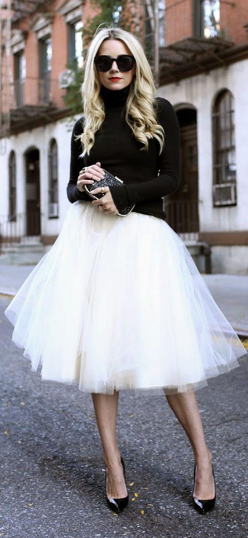 White Tutu Skirt by Atlantic - Pacific: Black Sweater& White Tutu- I'd love to be able to rock a tutu! She looks fabulous!
