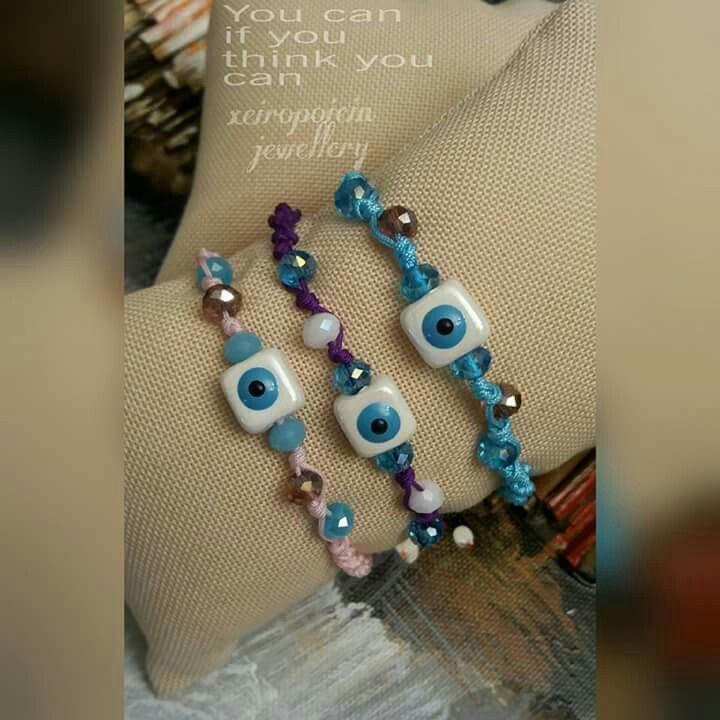 Βραχιόλια μακραμέ μάτι κεραμικό και κρυσταλλάκια  Χειροποίητα κοσμήματα