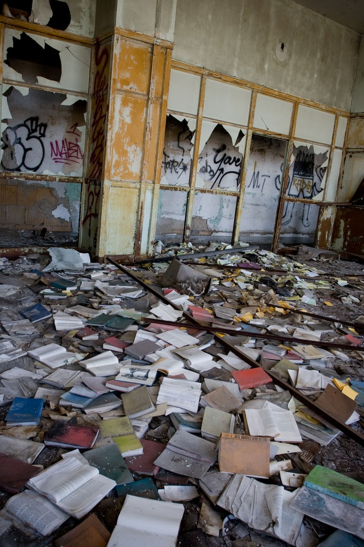 The abandoned Detroit Public Schools Book Depository, Detroit, Michigan, USA