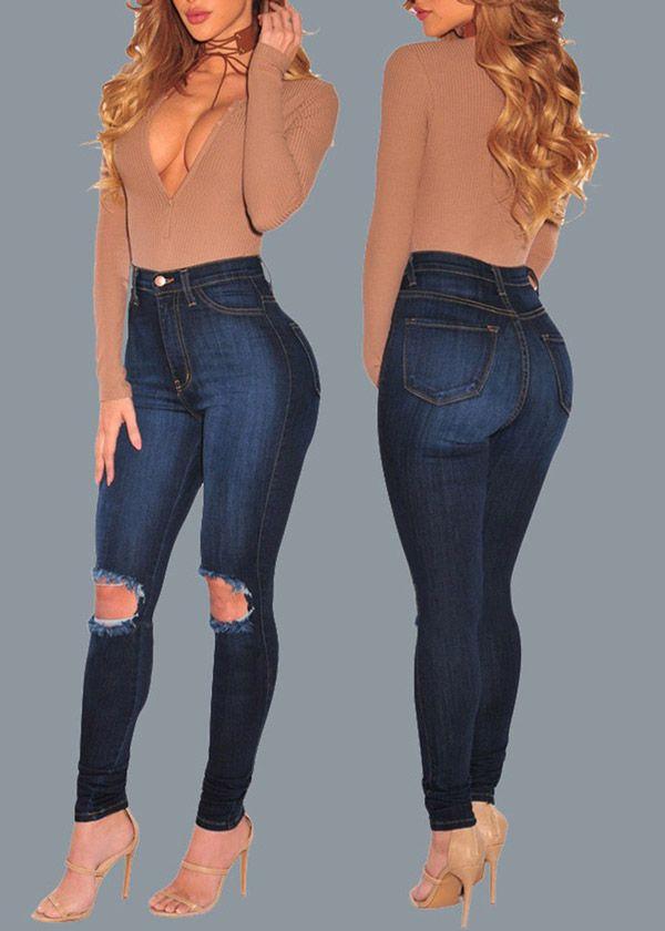 Compre Calça Jeans Skinny Cintura Alta Rasgadinha Azul Escuro | UFashionShop