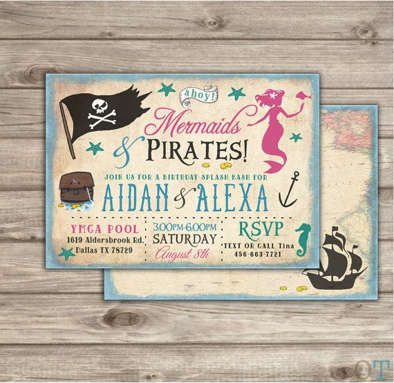 Mermaid and Pirates Birthday Invitations Swim Pool Party Boy girl Party Splash bash Under the sea Siblings Coral Teal Pirate Mermaid Party