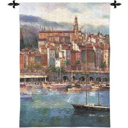 FineArtTapestries 2606-WH Mediterranean Harbor Wall Tapestry, Multicolor