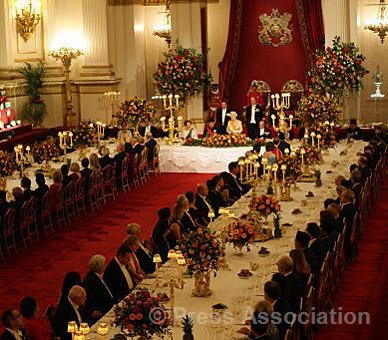 Guests are seated in the Ballroom at Buckingham Palace for the State Banquet to mark the beginning of the State Visit of the President of the Republic of Indonesia and Mrs Yudhoyono to the UK, 31 October 2012