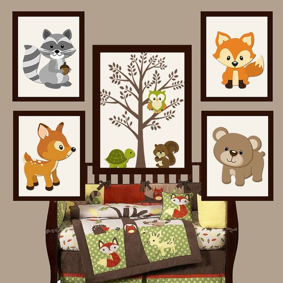 WOODLAND Nursery Wall Art, Forest Friends, Woodland Tree, Forest Animals, Deer Squirrel Bear FOX Canvas or Prints Set of 5 Wood Land Decor