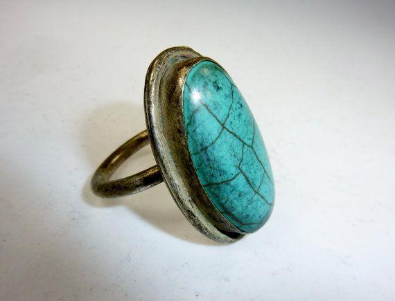 Großer Ring mit türkisem Stein Vintage Tribalring Türkiser