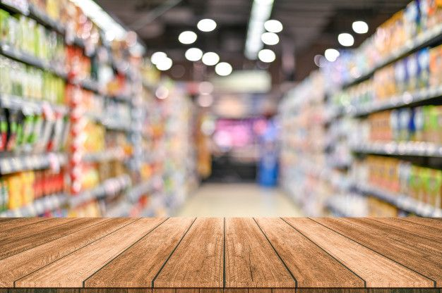 Empty Top Wooden Table With Supermarket Blur Background Blurred Background Wooden Tables Background