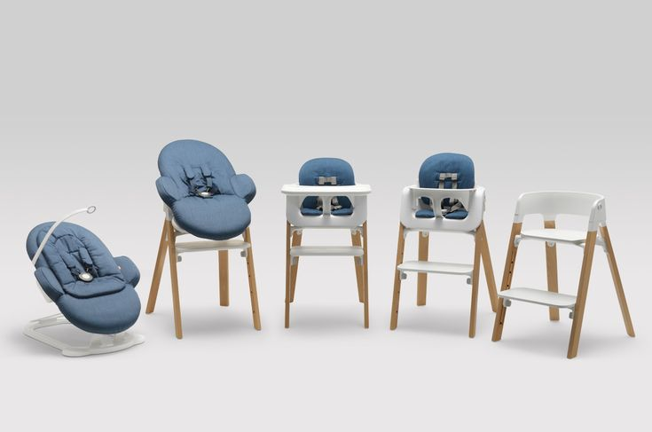 Stokke Steps grows with your child with its ergonomic, from-birth bouncer, to a functional high chair, and then a child's chair –an innovative, all-new modular seating system from Stokke !