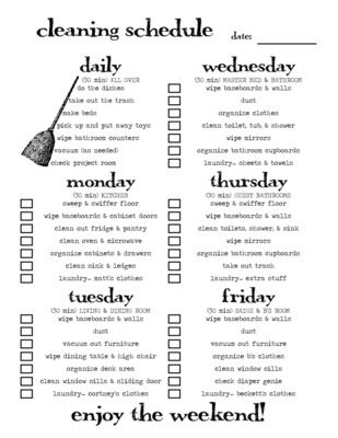 Revise this scheduled cleaning chart to apply to De Anza house