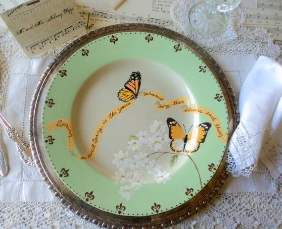 handpainted plate: Dinners Sets, Dinners Plates, Hands Paintings, Dinner Plates, Hands Glaze, Glaze Dinners, Handpaint Plates Pretty, Sharpie Plates, Handpaint Green