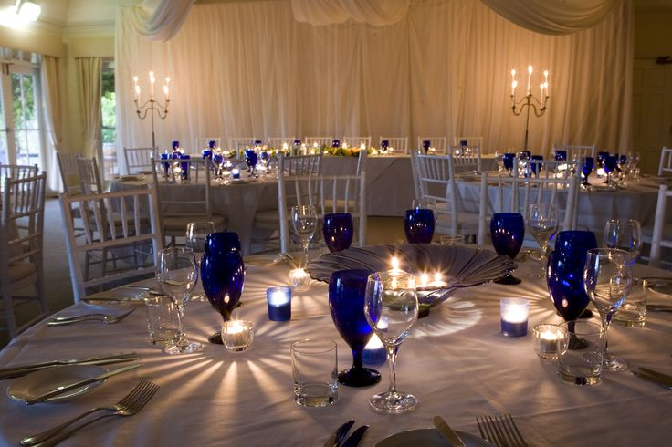 White and blue styling touches for tables - Sydney Prop Specialists