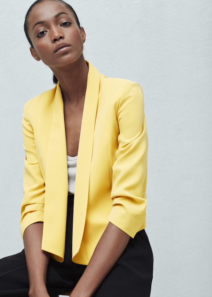 Ruched sleeves blazer - Jackets for Woman | MANGO Czech Republic