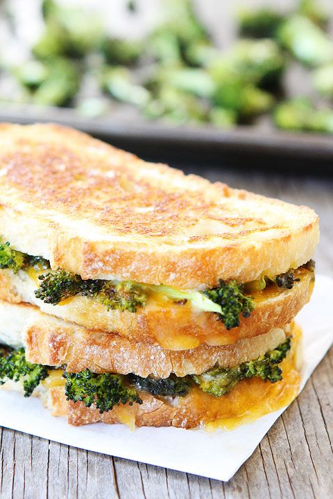 Roasted Broccoli Grilled Cheese Recipe on twopeasandtheirpo... My favorite way to eat broccoli!