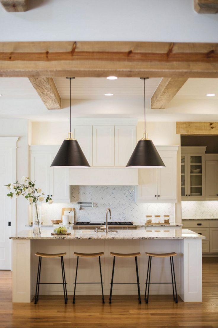 beams in kitchen black pendants in kitchen