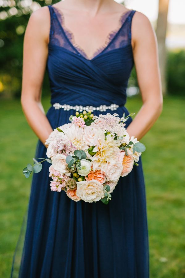 Rose and peach wedding bouquet: http://www.stylemepretty.com/2017/03/21/charming-backyard-wedding-on-the-coast/ Photography: Emily Tebbetts - http://emily-tebbetts-weddings.com/