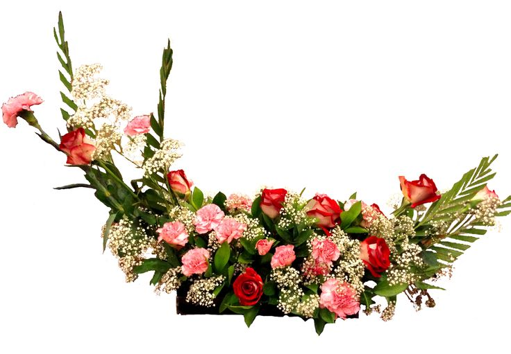 Glorious Crescent arrangement has a sweeping look that adds to the elegance and sophistication of an event. Red Roses, Pink Carnations, and White Gysophilla are brought together beautifully to create a graceful arrangement with every beautiful bloom of flowers.