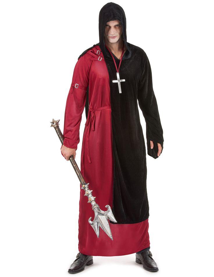 Disfraz de monje siniestro para hombre, ideal para Halloween: Este disfraz de monje siniestro para hombre se compone de un hábito, una capa y un collar. El hábito rojo y flexible sólo tiene una manga en el costado derecho. La capa negra con...