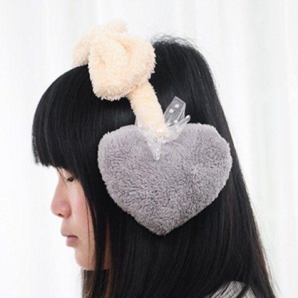 Chic Lace Bow Embellished Heart Shape Faux Fur Women's Earmuff #women, #men, #hats, #watches, #belts