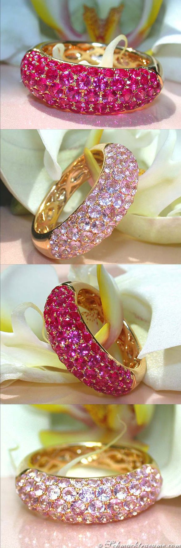 Cute Pavé Rings, Rubies and Pink Sapphires, YG-14K - Find out: schmucktraeume.com - Visit us on FB: https://www.facebook.com/pages/Noble-Juwelen/150871984924926