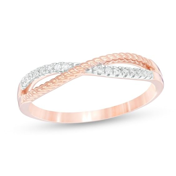 1 15 Ct T W Diamond Crossover Rope Shank Stackable Anniversary Band In 10k Rose Gold Diamond Anniversary Bands Anniversary Bands Rose Gold