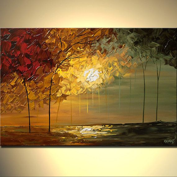 Sunset Landscape Painting Contemporary Abstract by OsnatFineArt
