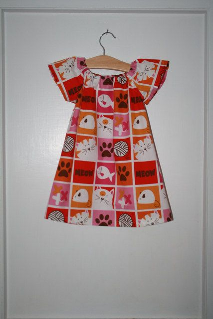Girls Cat and Mouse Dress  Only 2 Available by jackandwilladesigns, $45.00