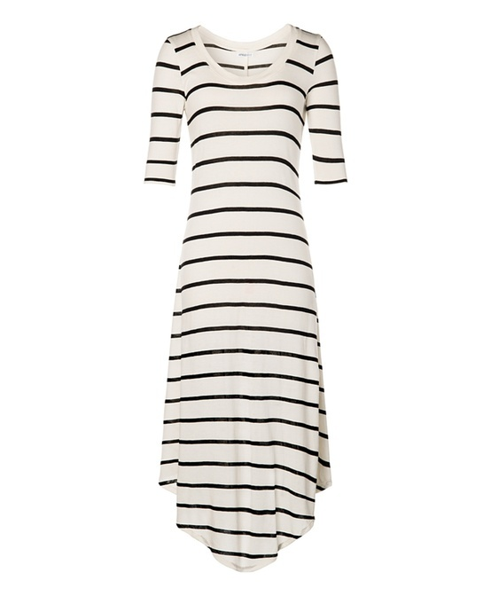 Love this simple black and white striped dress