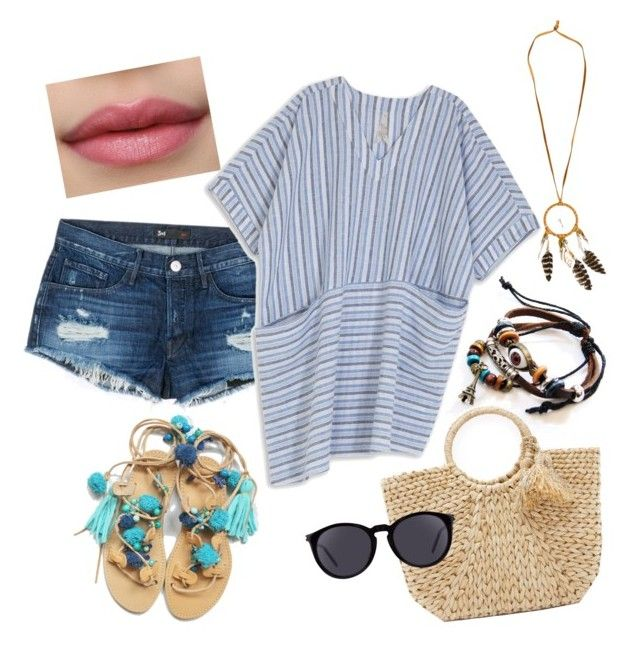 beach time for curvy girl by anastasia-sutawijaya on Polyvore featuring polyvore fashion style Melissa McCarthy Seven7 3x1 Hat Attack Yves Saint Laurent clothing