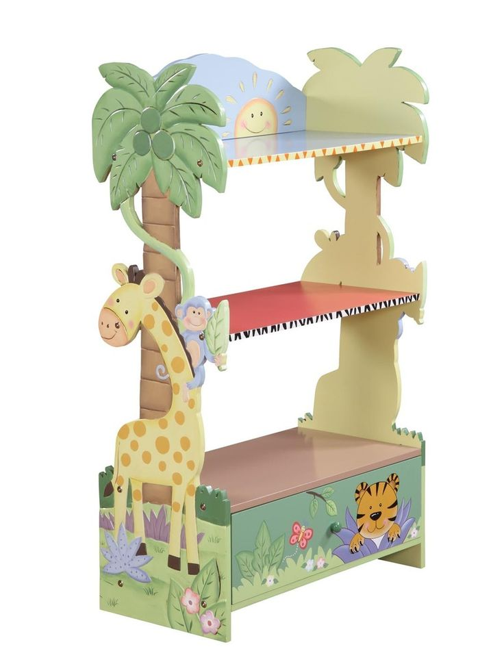 Clever tall palm tree side panels of bookshelf & toybox combo