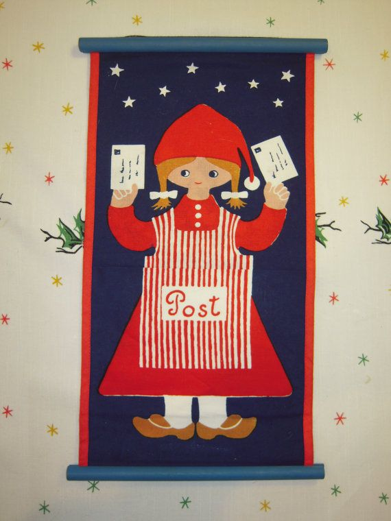 Vintage Danish Wall Hanging Her Elf Christmas by unclebunkstrunk, $34.99