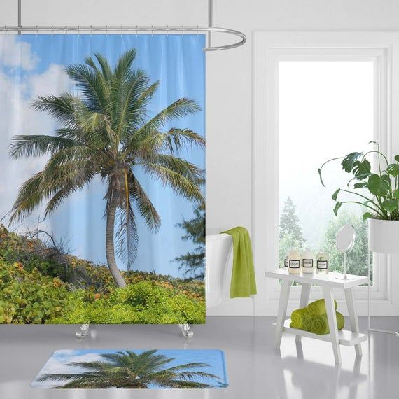 Palm Tree Bathroom Decor Ideas With Sweet Shower Hook Palm Tree
