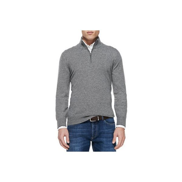 Brunello Cucinelli 2-Ply Cashmere Half-Zip Pullover ($1,150) ❤ liked on Polyvore featuring men's fashion, men's clothing, men's sweaters, grey, mens half zip sweater, mens cashmere half zip sweater, mens cashmere sweaters, mens ribbed sweater and mens grey sweater