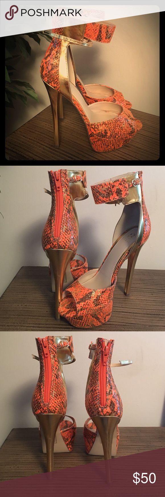 "Orange and gold Stilettos Orange and gold animal print 4"" Stilettos Shoes Heels"