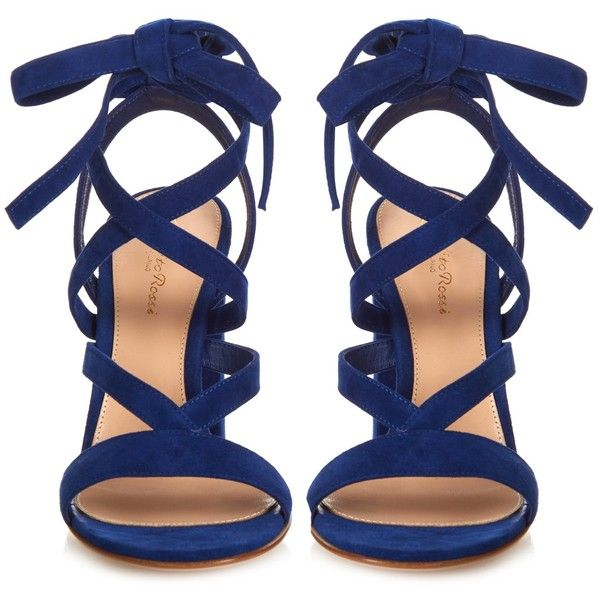 Gianvito Rossi Janis suede sandals ($660) ❤ liked on Polyvore featuring shoes, sandals, heels, ankle strap sandals, suede shoes, royal blue shoes, ankle strap shoes and ankle wrap sandals