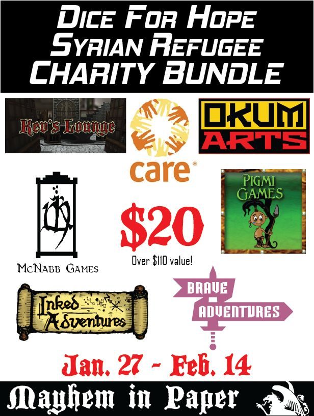 Dice for Hope Syrian Refugee Charity Bundle - http://www.braveadventures.com/news/2016/01/27/dice-hope-syrian-refugee-charity-bundle/