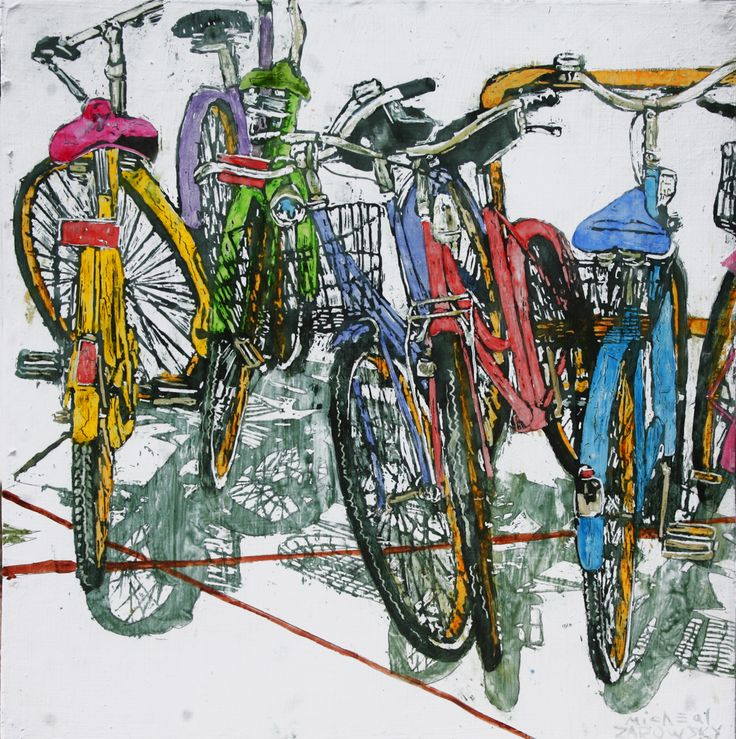 "lido bikes (125)   16"" x 16"" x 1 3/4""  micheal zarowsky / Mixed media (watercolour / acrylic painted directly on gessoed birch panel) Available $500.00"
