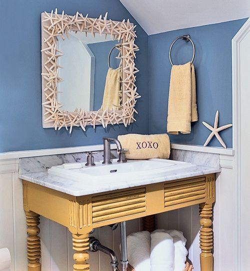 Blue And White Beach Bathroom Decor With Starfish Mirror