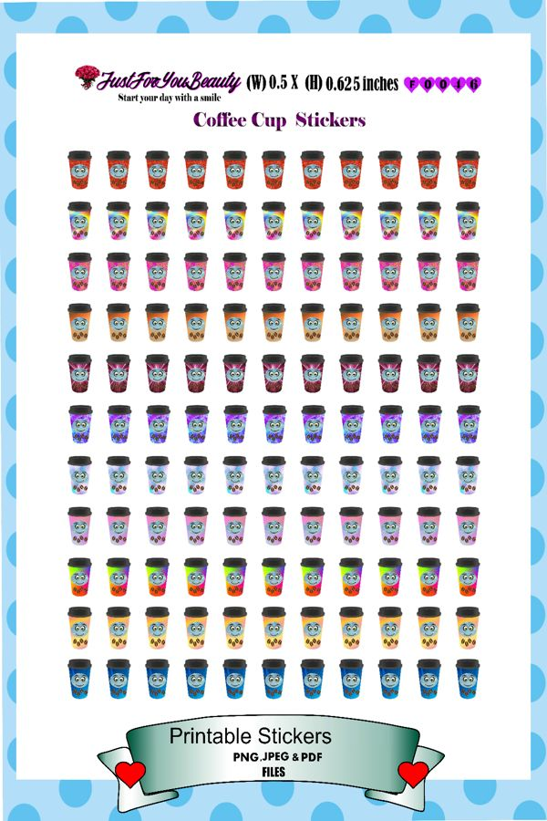 Coffee Cup Printable Stickers, Erin Condren Planner Stickers,  Cut Files #F0046