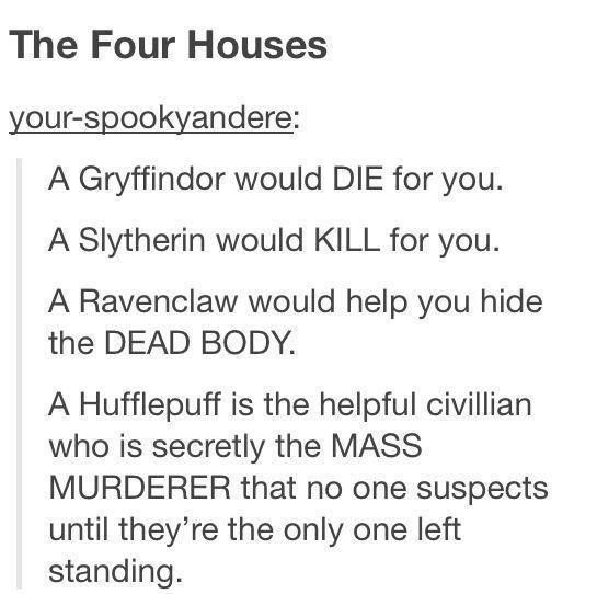 Harry Potter fandom posts part 5 - Imgur<--- that's the best definition of the Hogwarts houses yet. (Says the hufflepuff.)