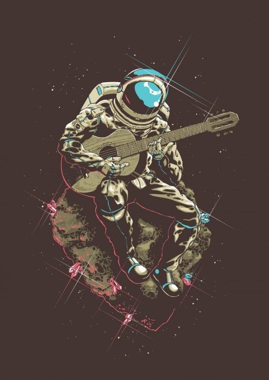 Rocking out in space! Wouldn't work, but I like the concept. Graphic.