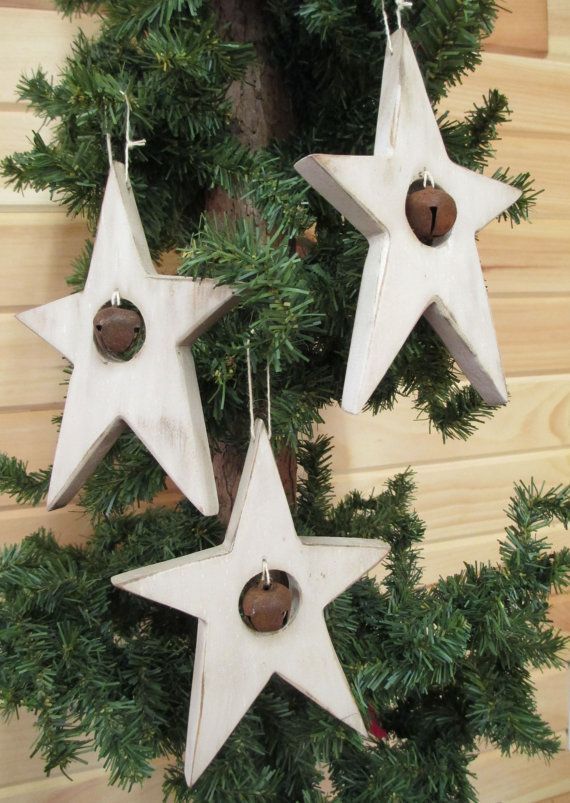 Wood Star Ornament with Jingle Bell  White by ModerationCorner, $6.50